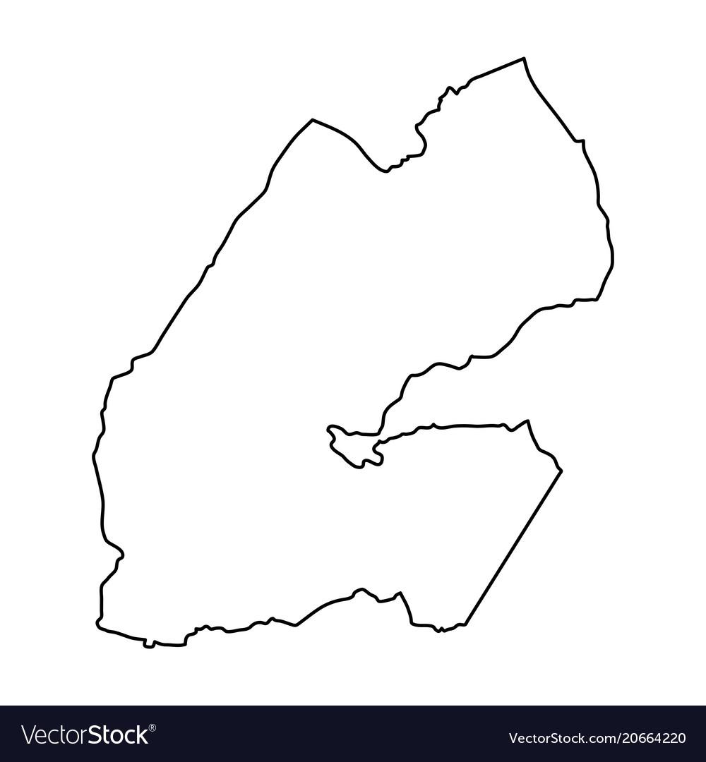 Djibouti map of black contour curves on white