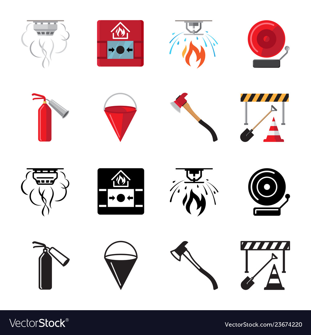 Fire safety flat icons of set