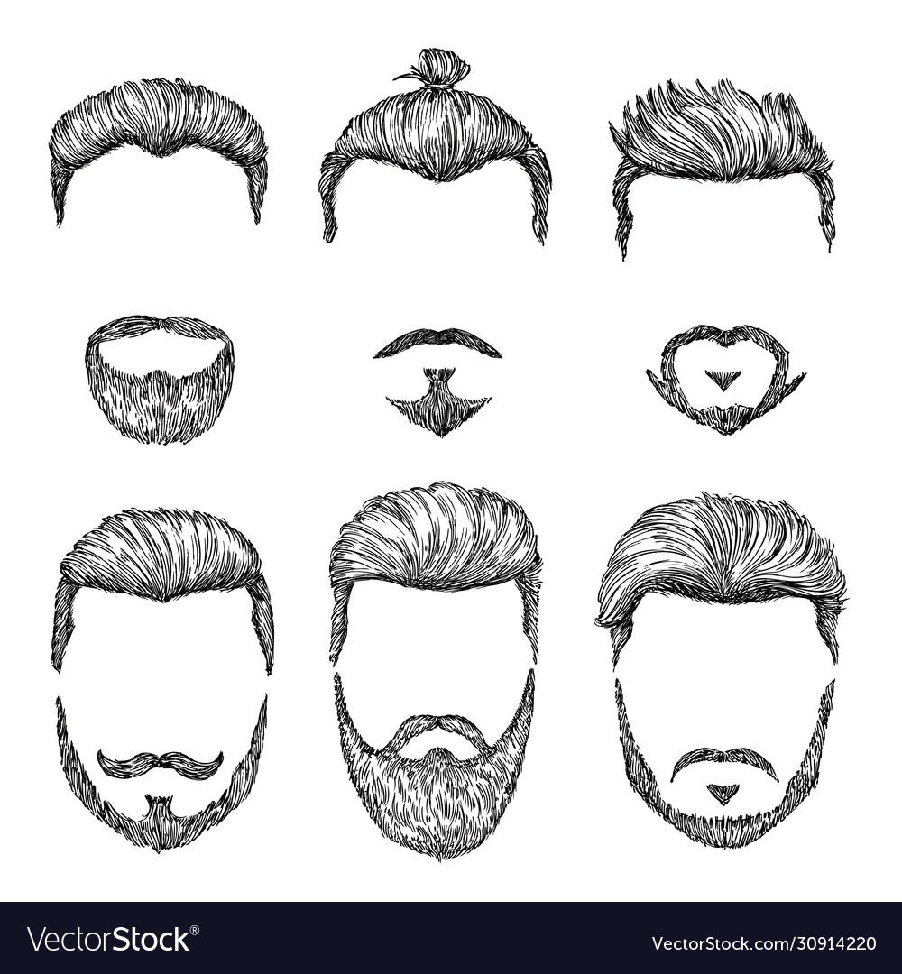 Hipster haircut hand drawn vintage hair styles