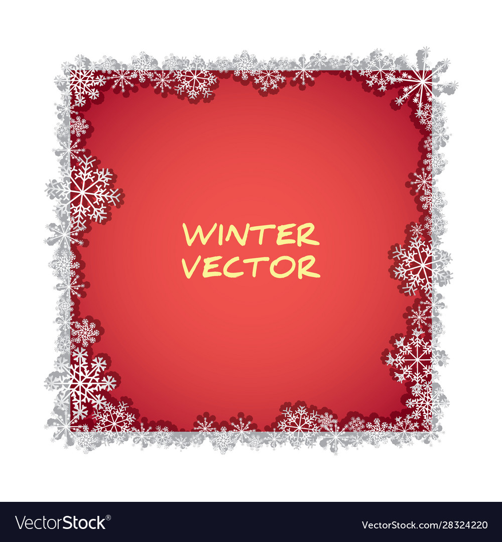 Isolated foto frame with snowflakes and shadow