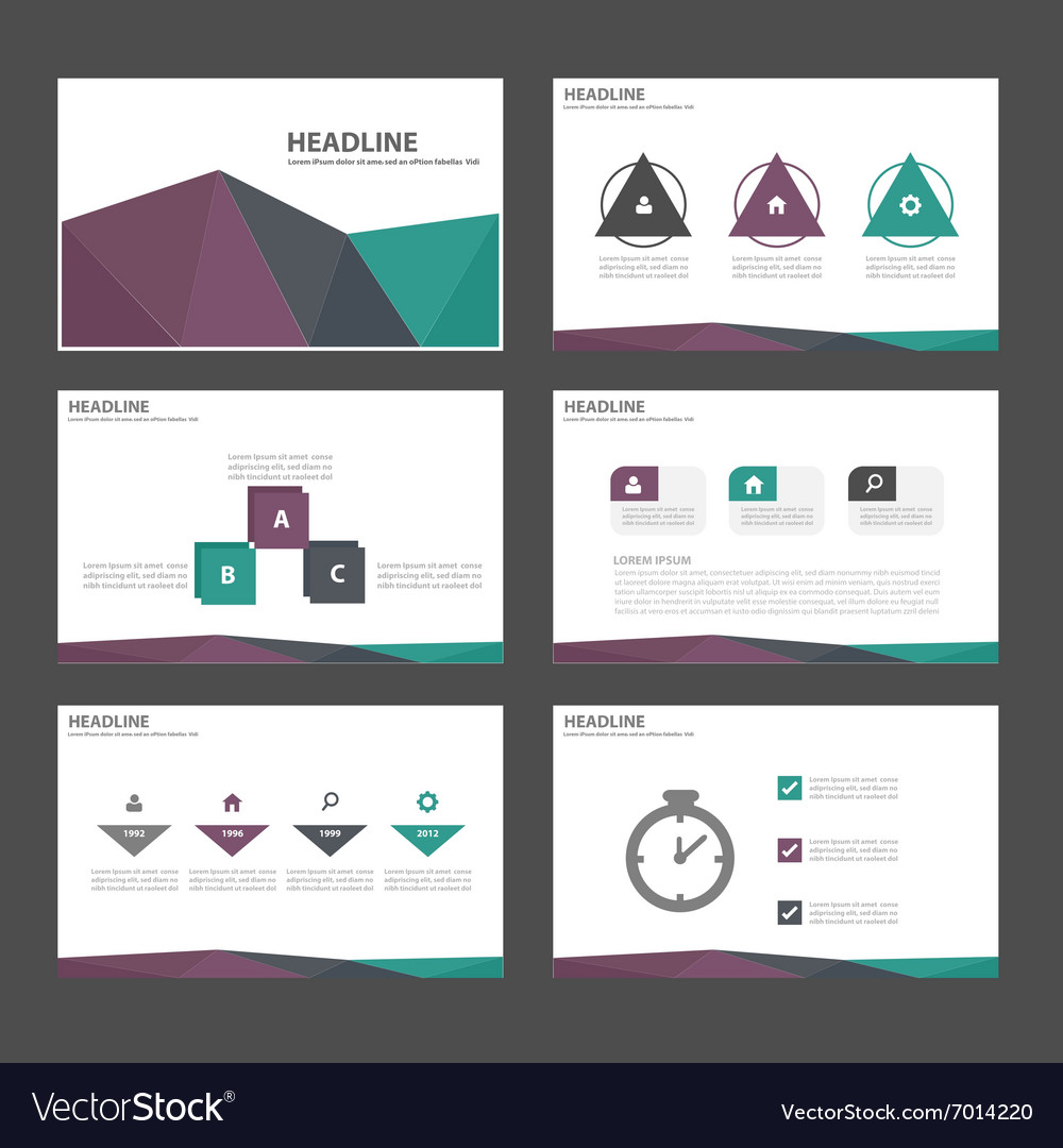 Purple green purple presentation templates set vector image
