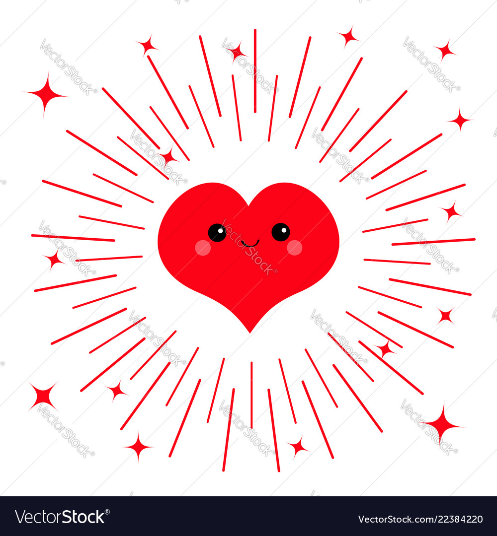 Red heart face head icon cute cartoon kawaii