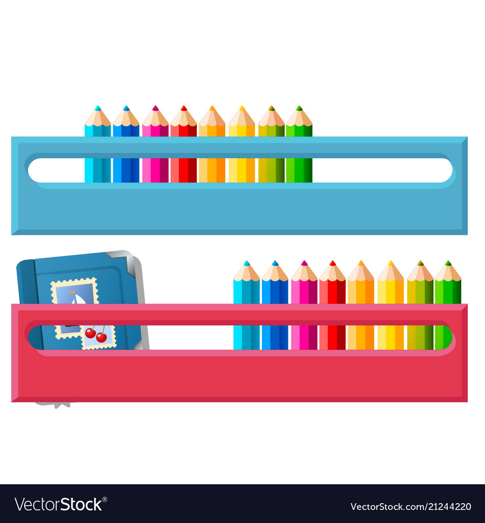 Shelf for multicolored pencils isolated on white