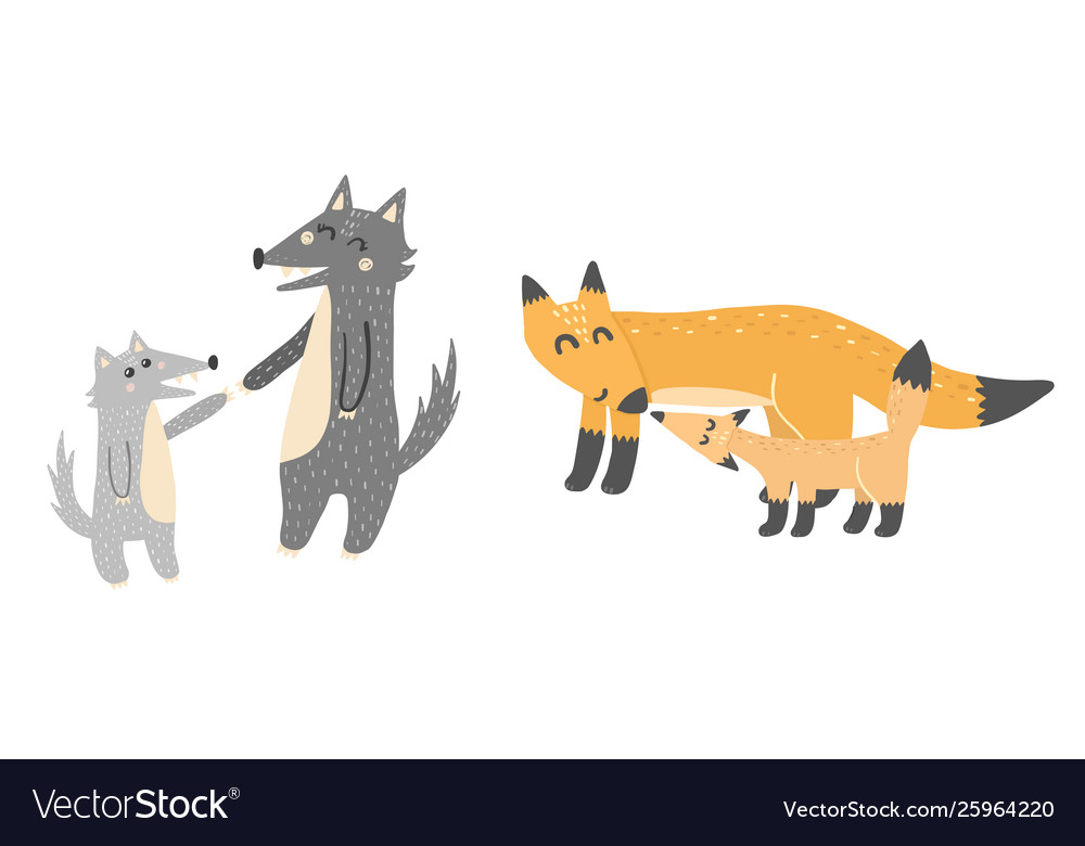 Super cute mothers and babies - wolves and foxes