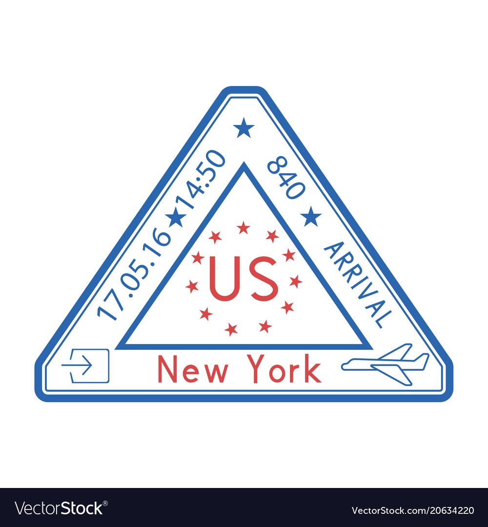 Usa Triangle Travel Stamp For Passport Red And Vector Image