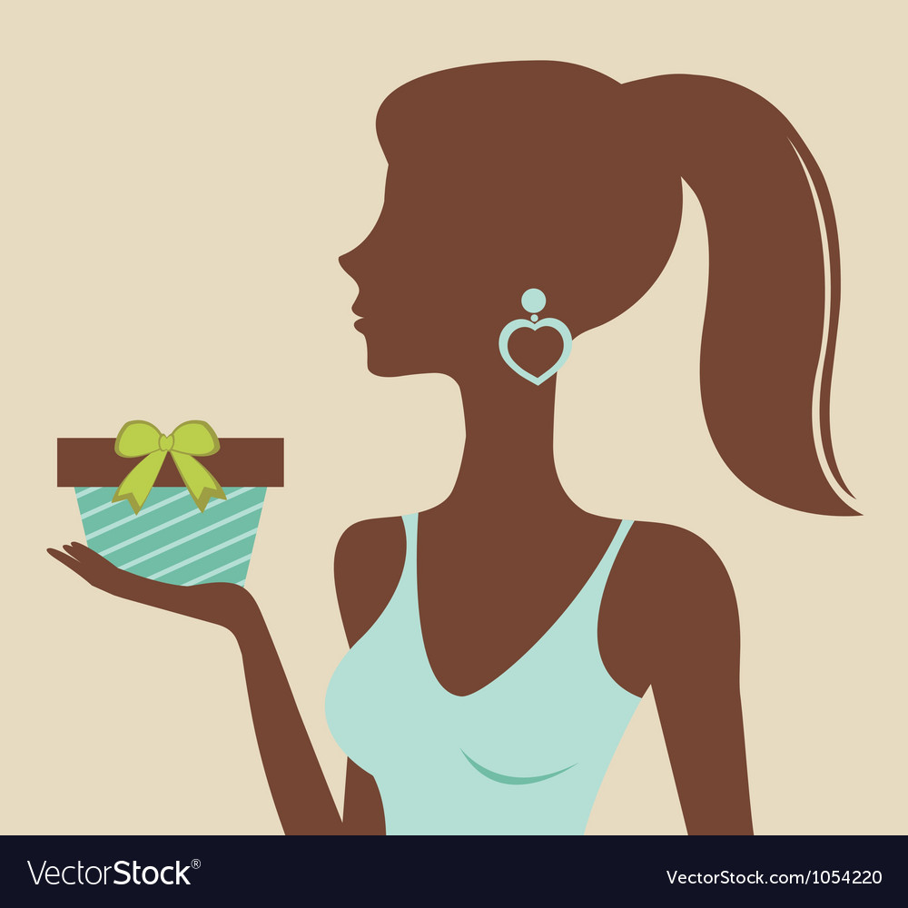 Woman holding gift vector