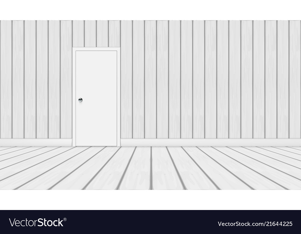 3d minimalistic wood room with white door