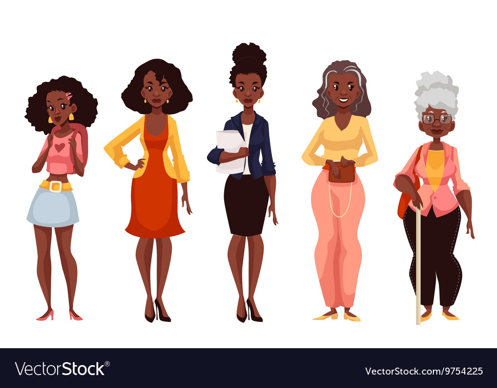 Black women of different ages from youth to