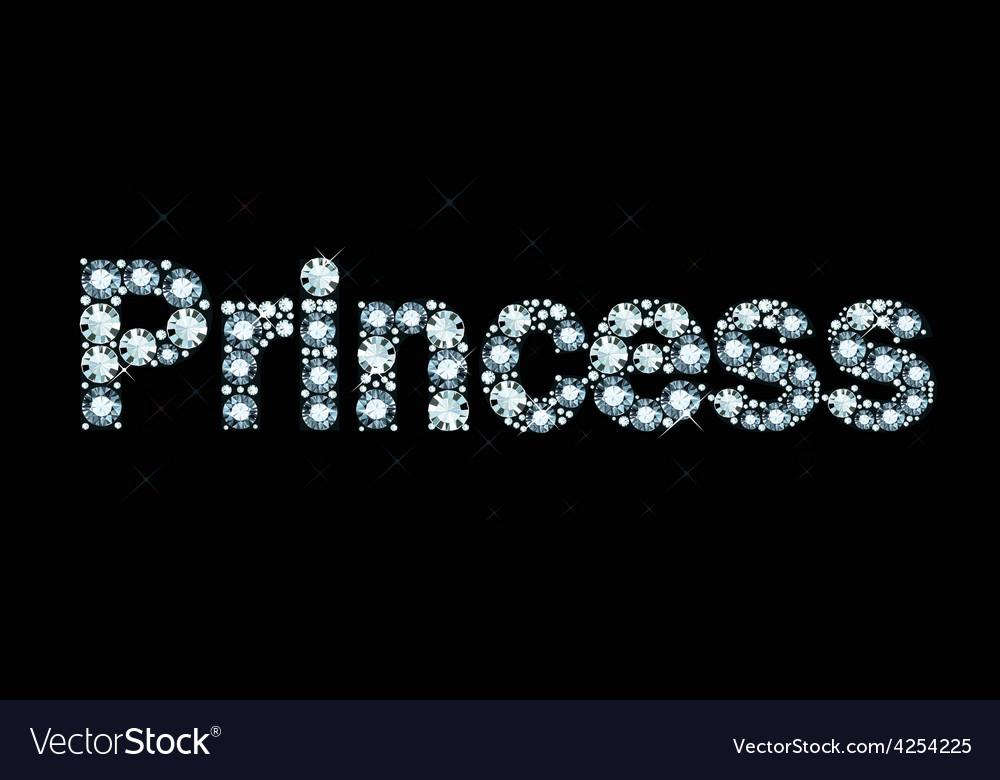 Diamond Word Princess vector image