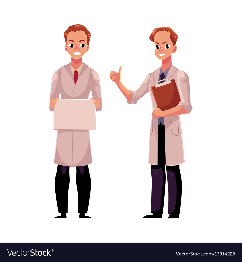 Doctors in medical coats holding blank sign