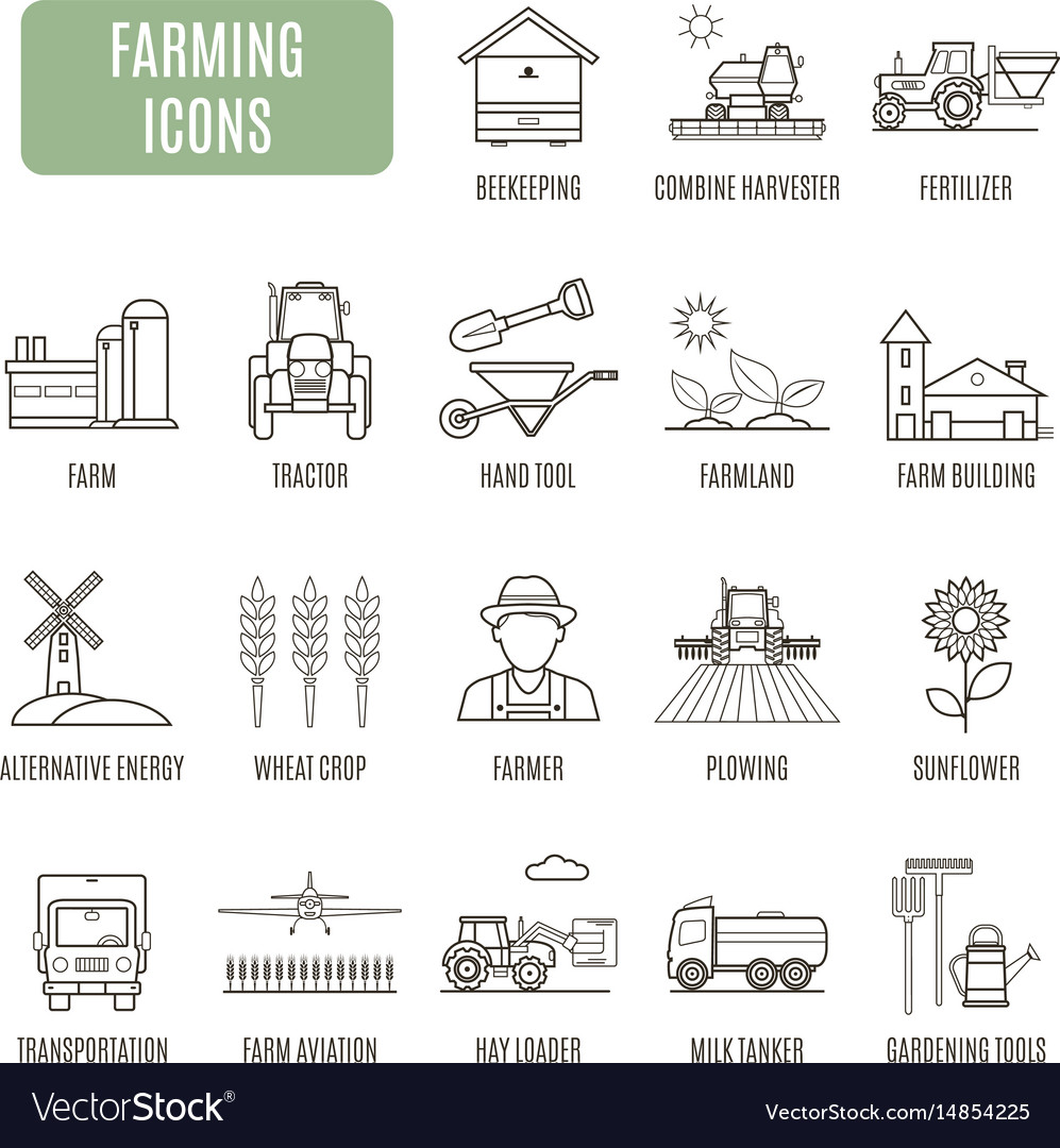 Farming icons set of pictogram