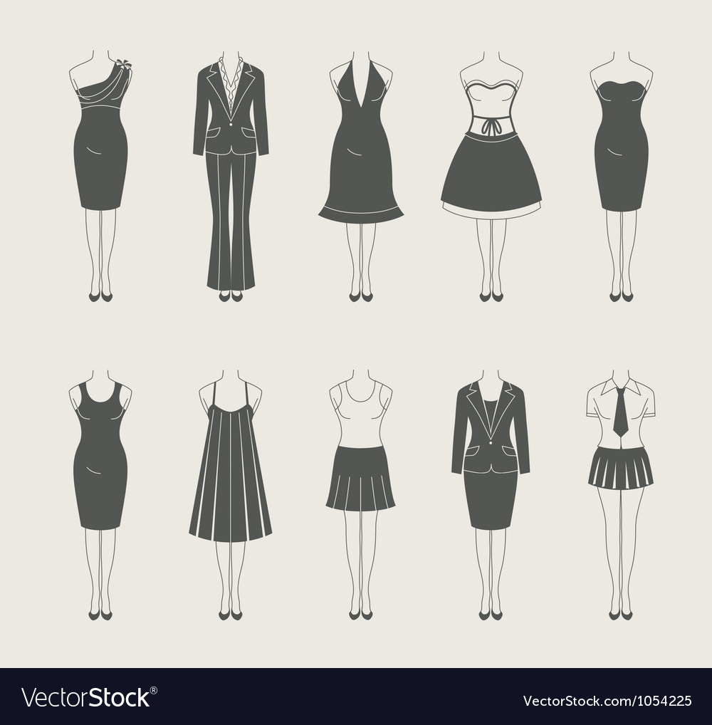 Female clothes set icon vector