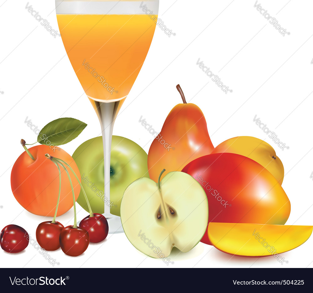 Group of fruit with glass