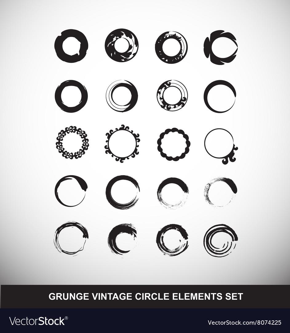 Grunge Vintage Circle Logo Elements Set Vector Image