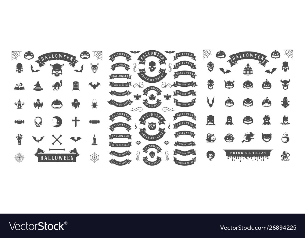 Halloween silhouettes and icons set isolated on a