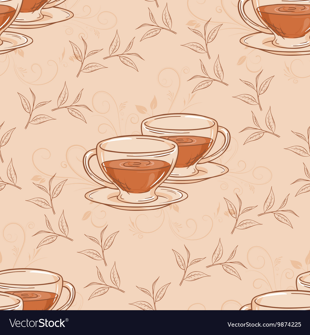 Hand drawn seamless pattern with cup of tea and