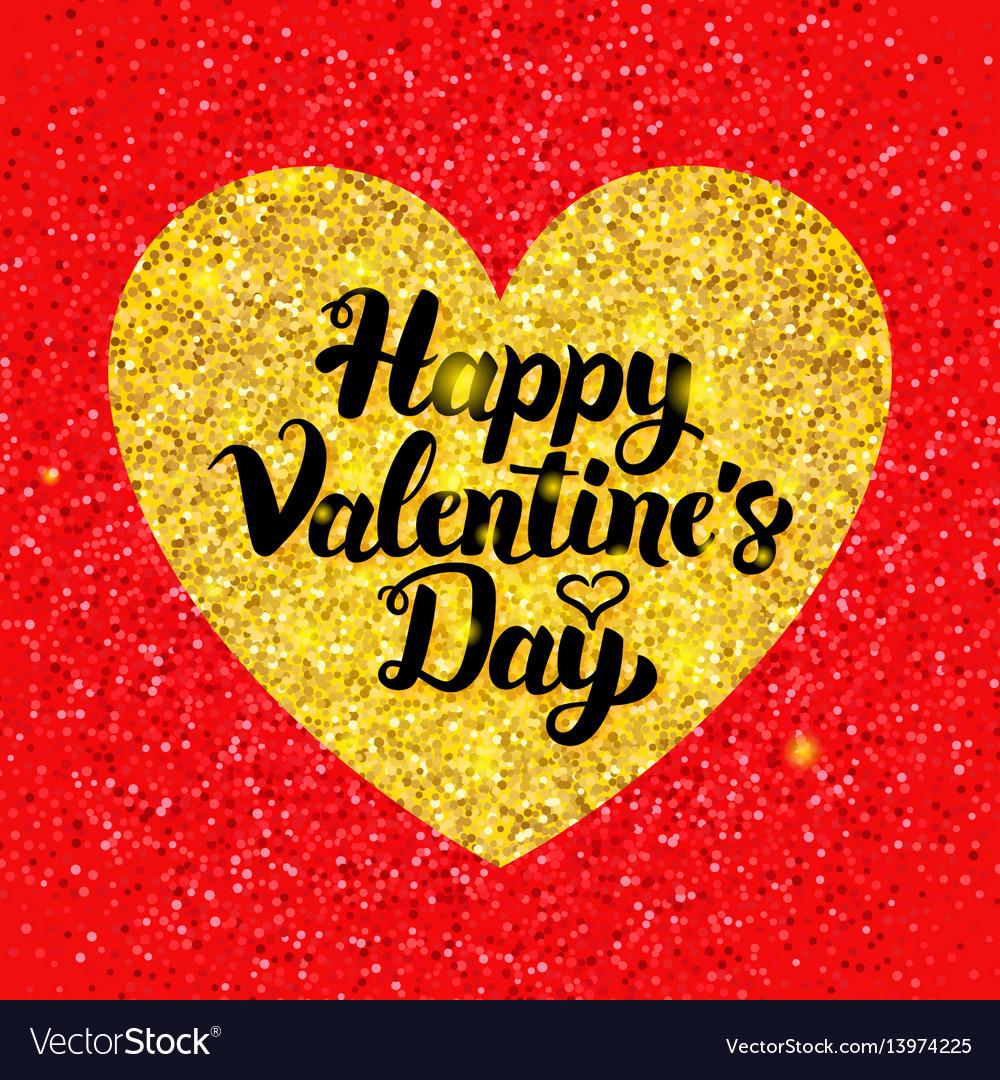 Happy valentines day glitter postcard
