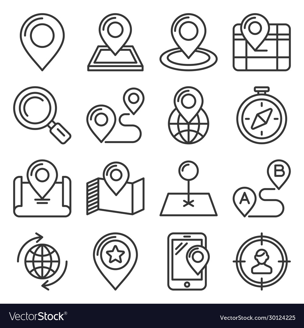 Map and location icons set on white background