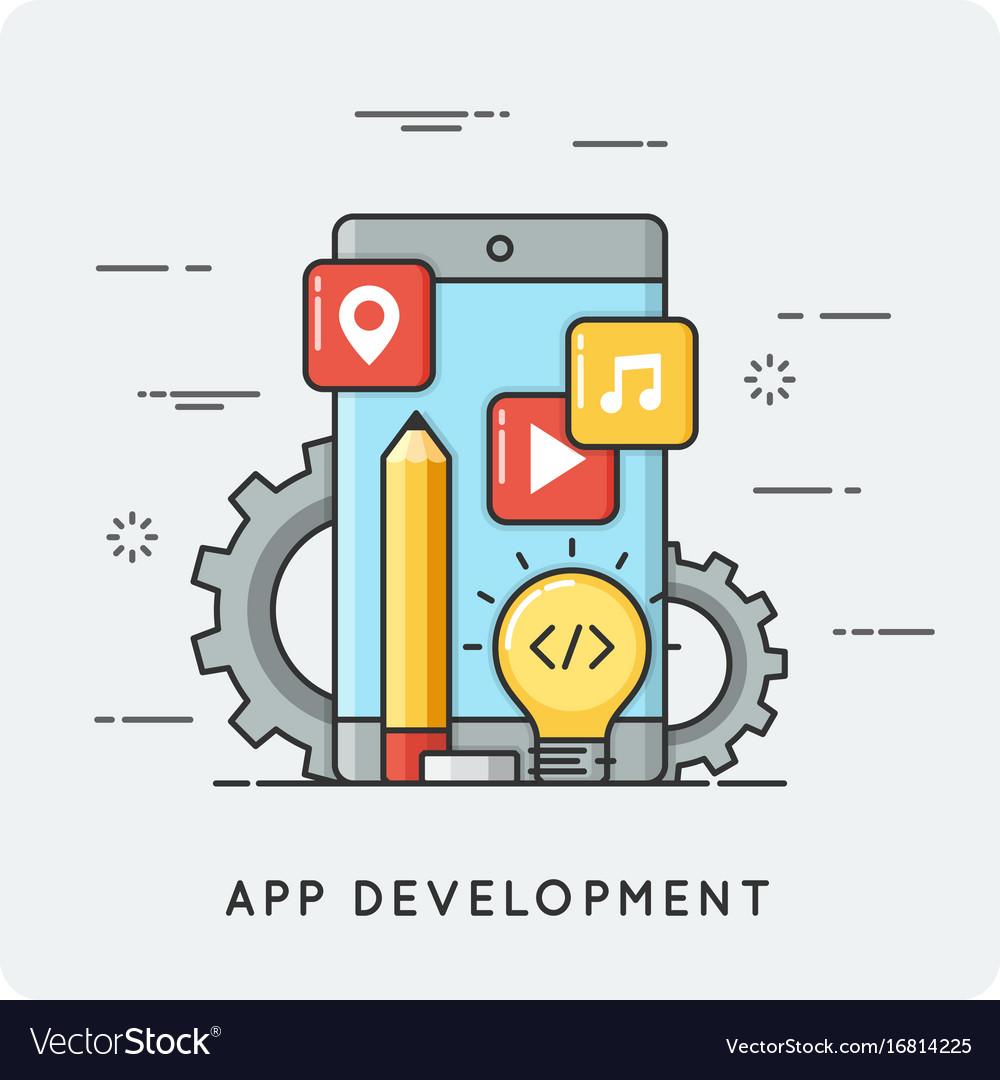 Mobile application development flat