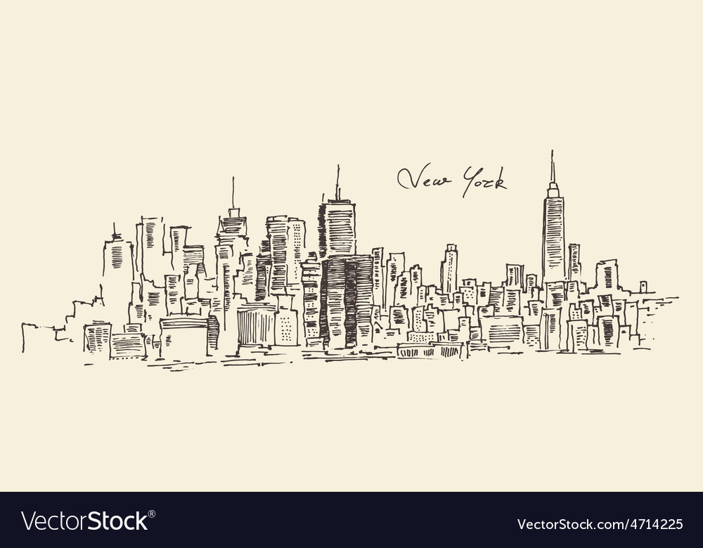 New York city engraving hand d vector image