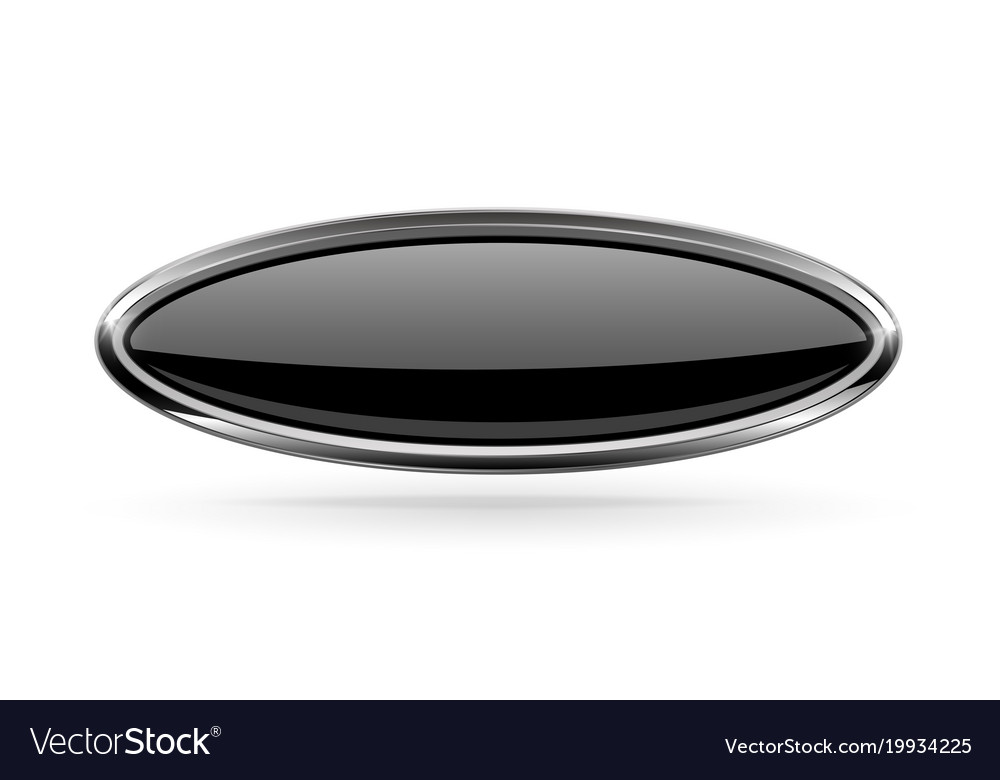 Oval black button with bold chrome frame 3d shiny Vector Image