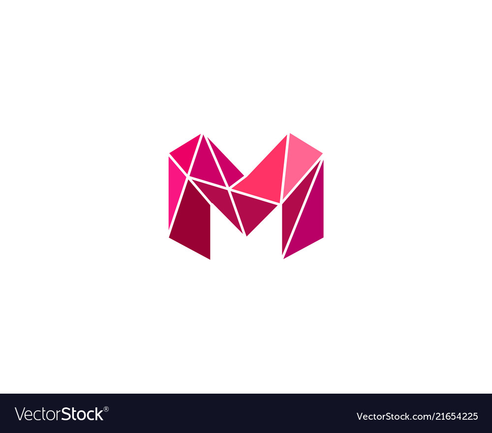 Polygonal trend letter m logotype color