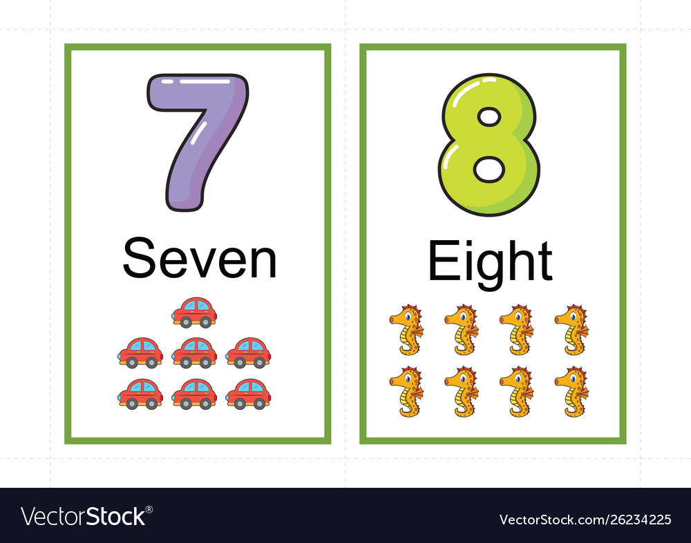 Printable Number Flashcards For Teaching Number Vector Image