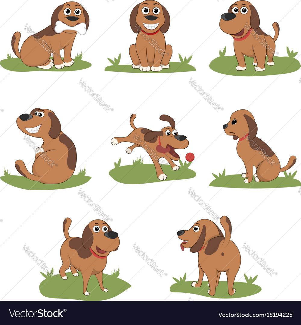 Puppy installed funny cartoon puppy in different