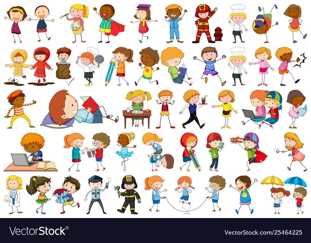 Set doodle kids character