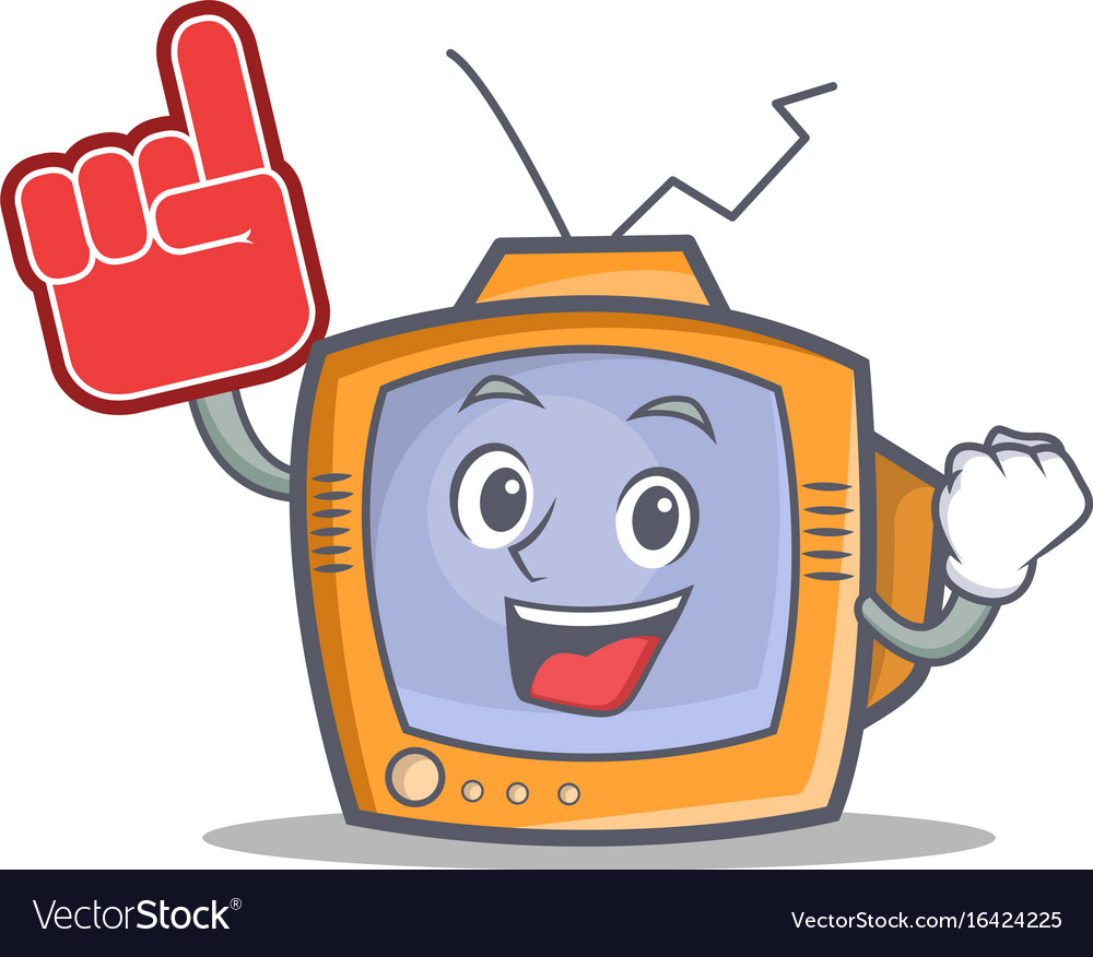 Tv character cartoon object with foam finger