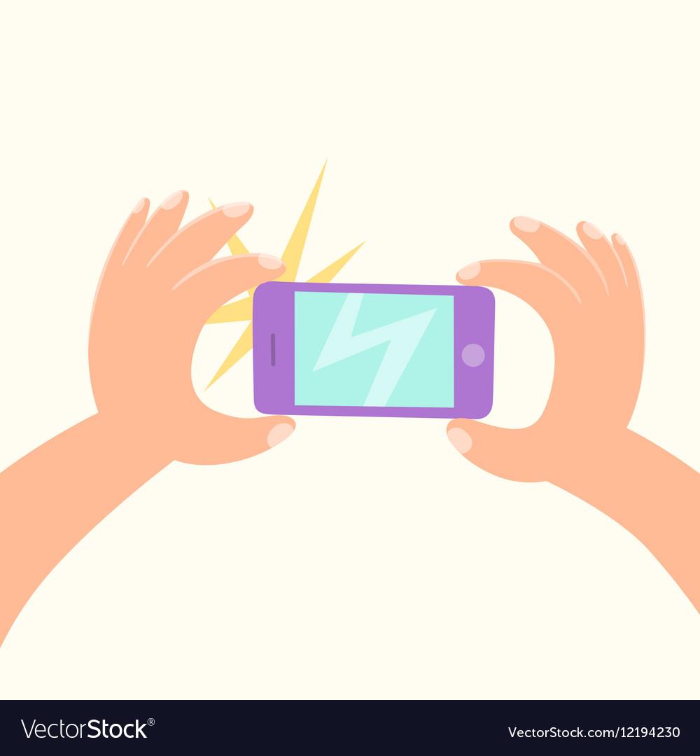 Cartoon hand making a photo by smartphone