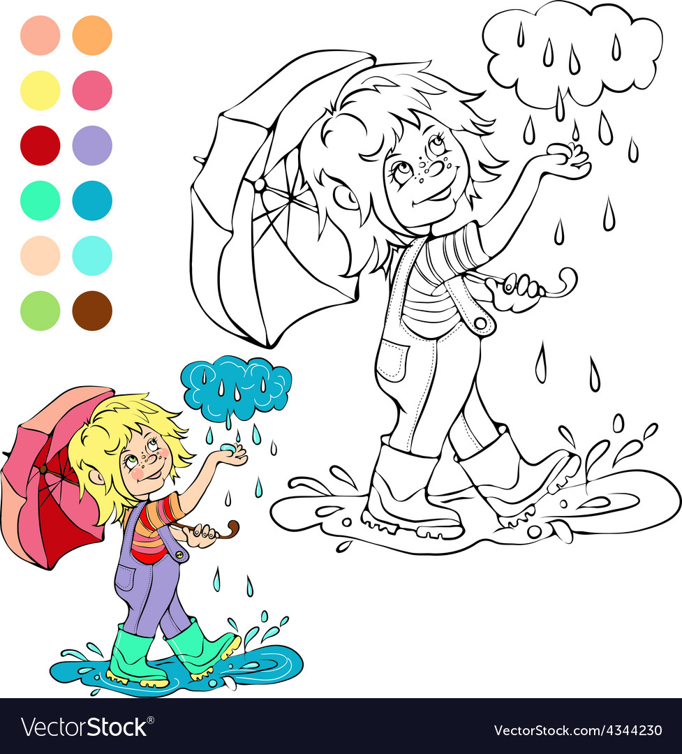 Coloring book rainy weather theme
