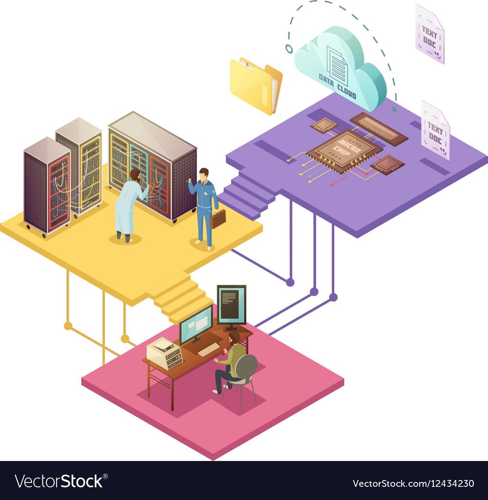 Datacenter Isometric vector image