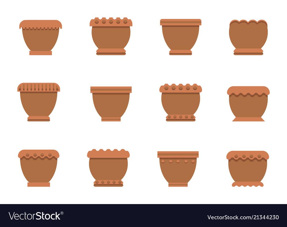 Flower pots of brown color set