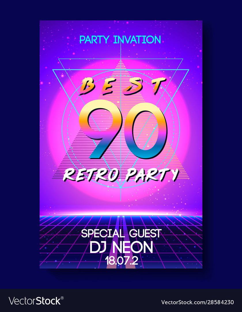Futuristic retro wave style party flyer template