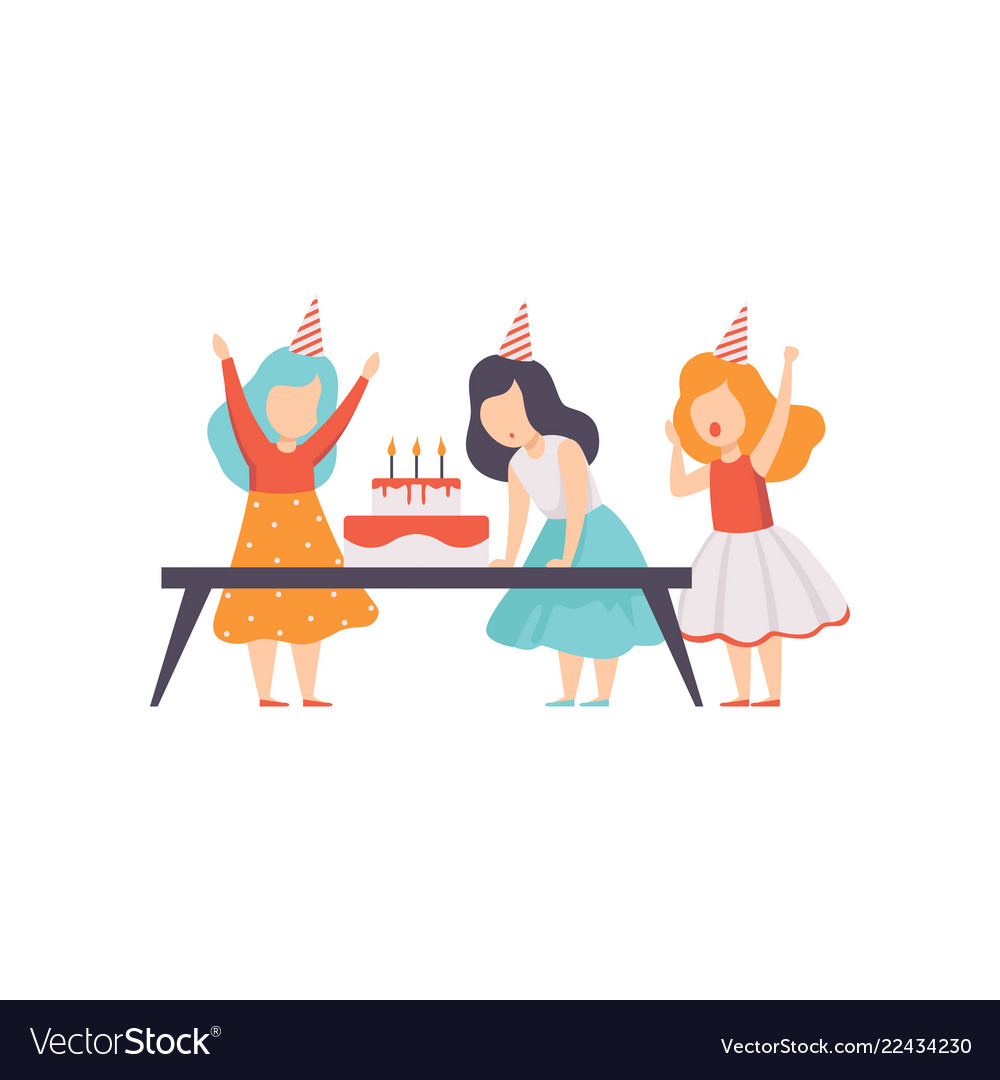 Girl Blowing Candles With Her Friends Kids Vector Image