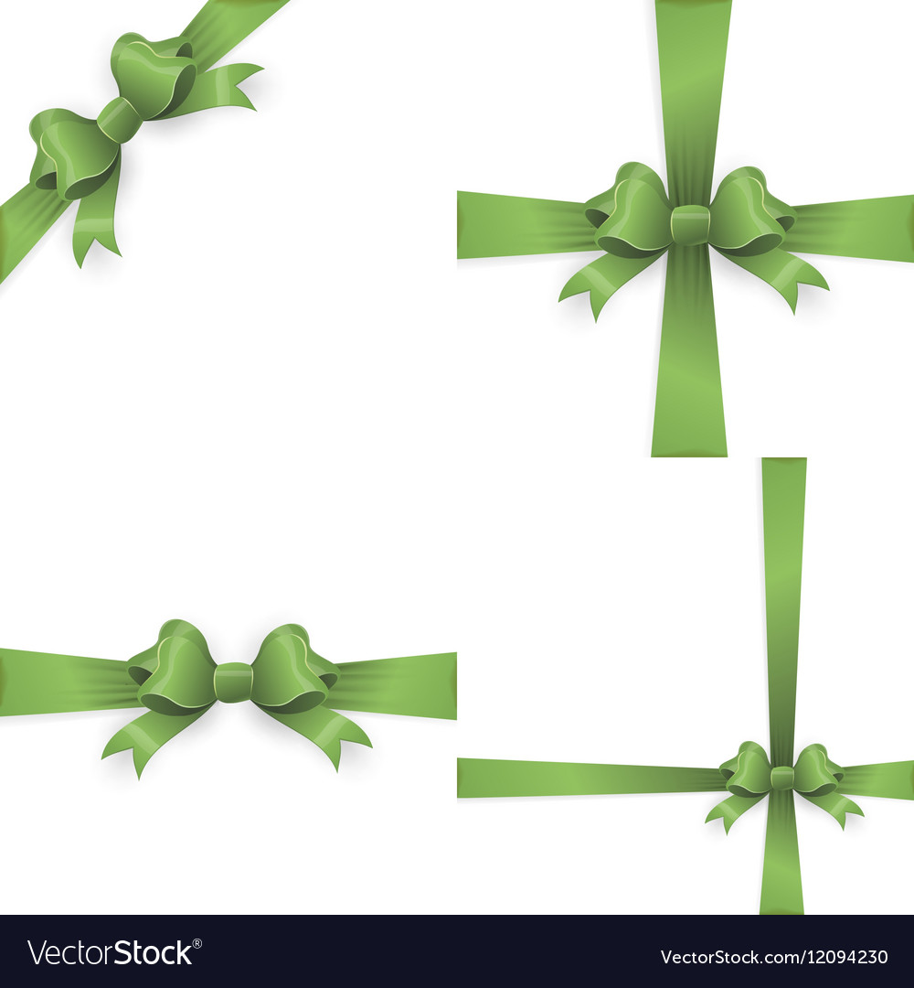 Green ribbon bow isolated on white EPS 10