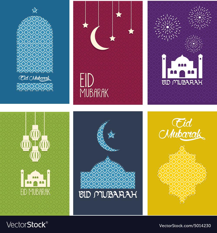 Happy Eid Mubarak Card Collection Royalty Free Vector Image