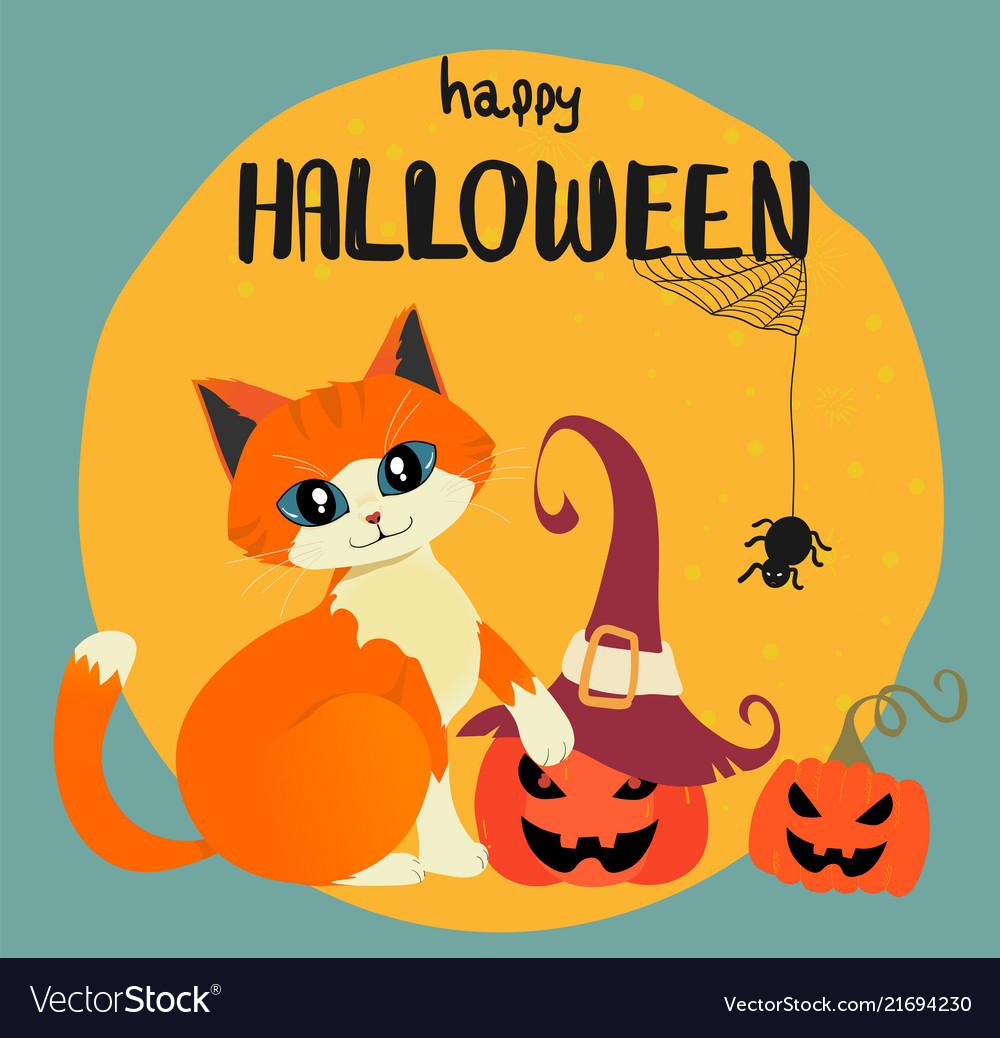 Happy halloween card with hand drawn orange cat