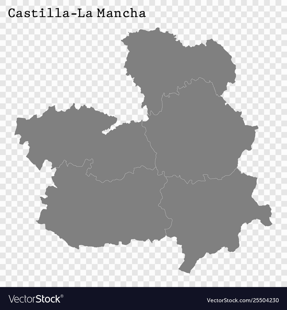Map Of Spain La Mancha.High Quality Map Is A State Spain Vector Image