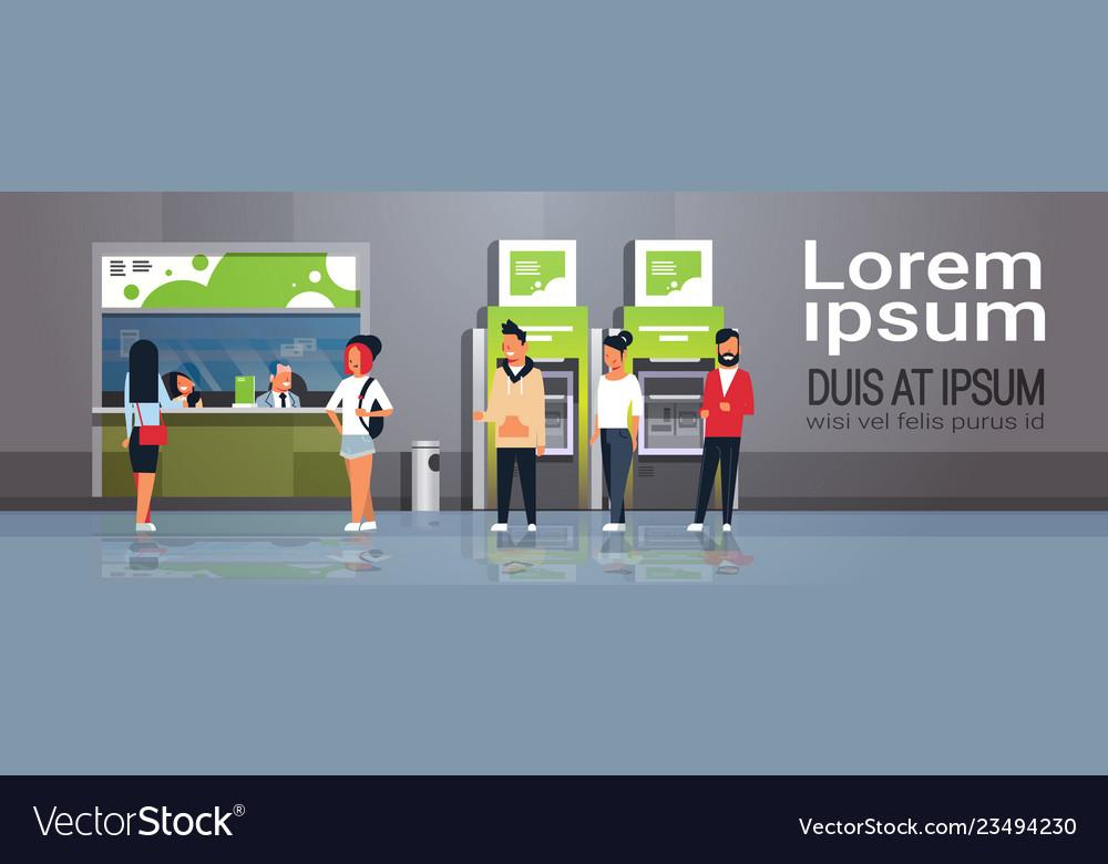 People waiting line queue cashier cash desk window