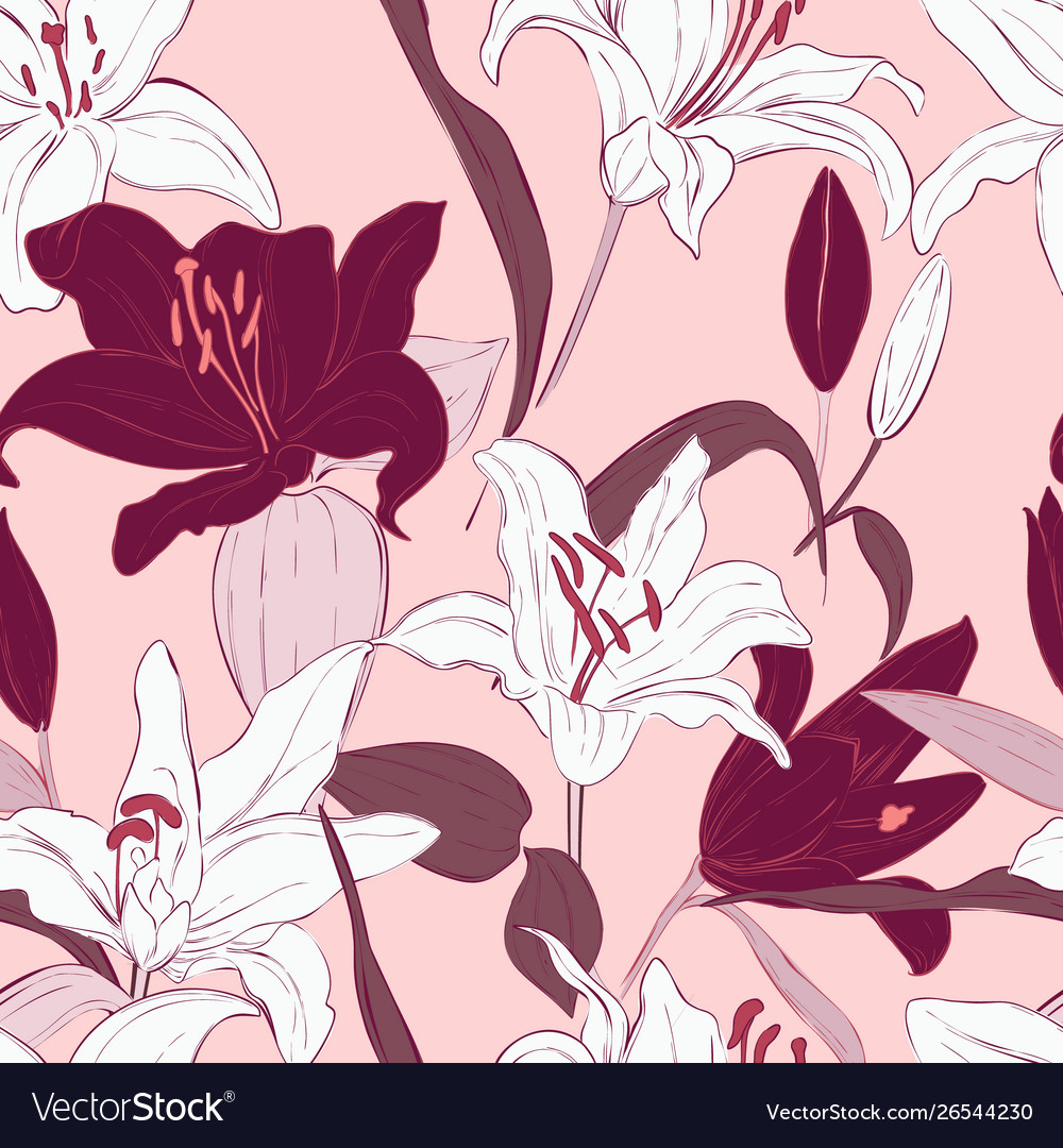 Pink lily seamless pattern design botanical