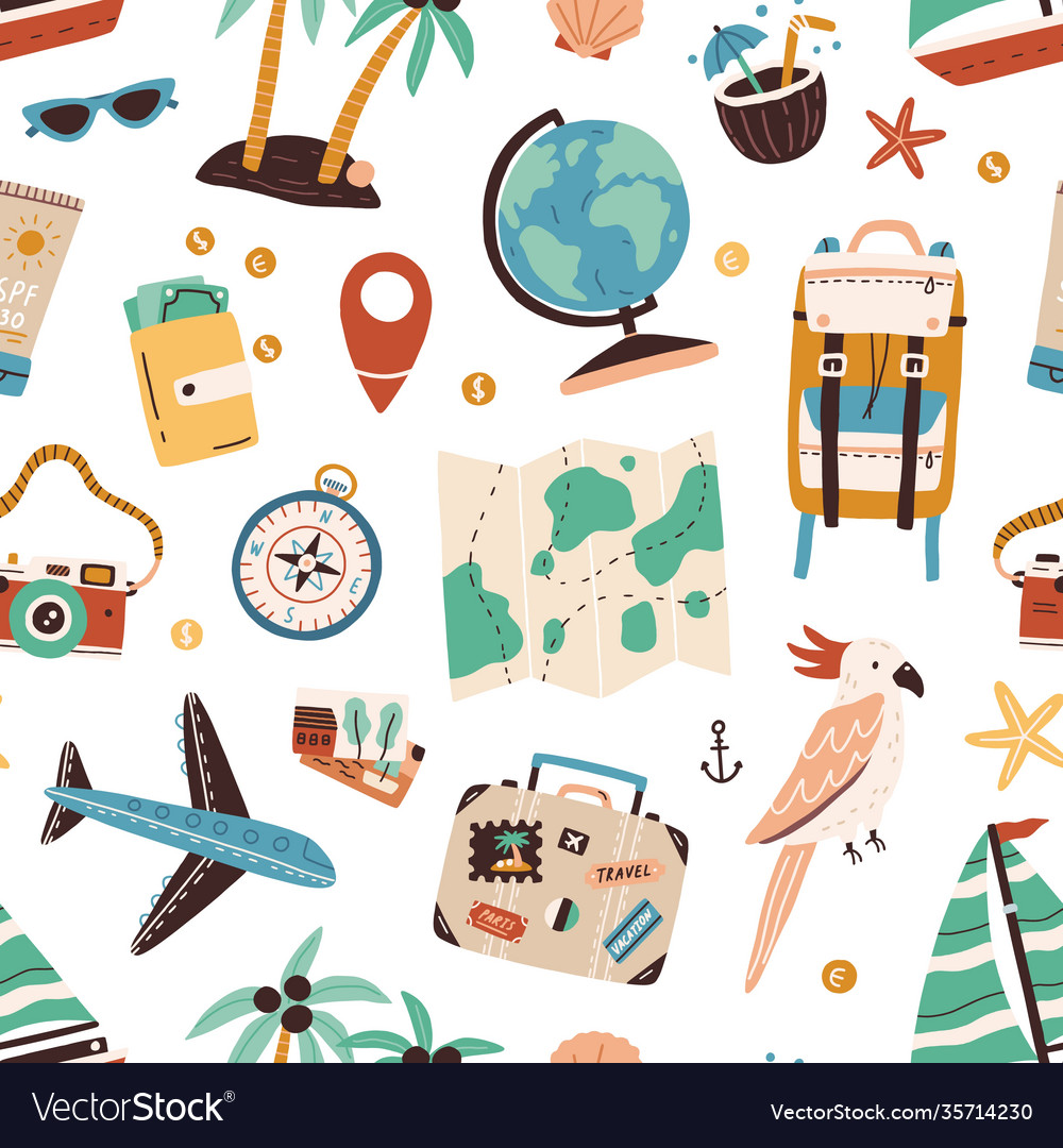 Seamless pattern with touristic items like