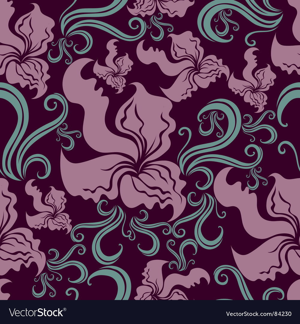 Seamless vintage grunge floral pattern with o
