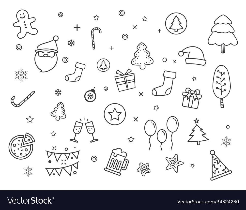 Set merry christmas element and symbol