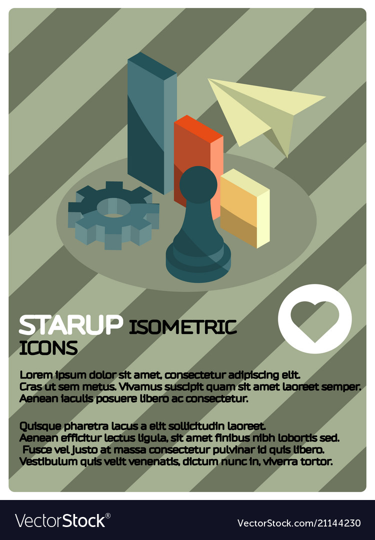 Startup color isometric poster