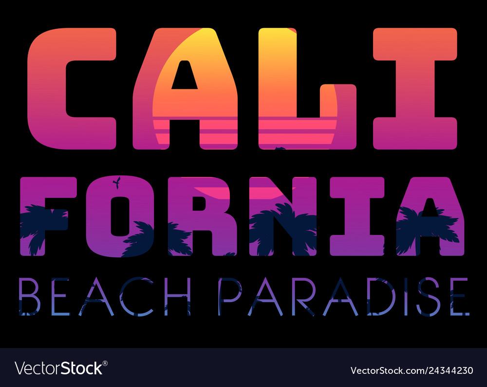 Summer tropical text california beach paradise