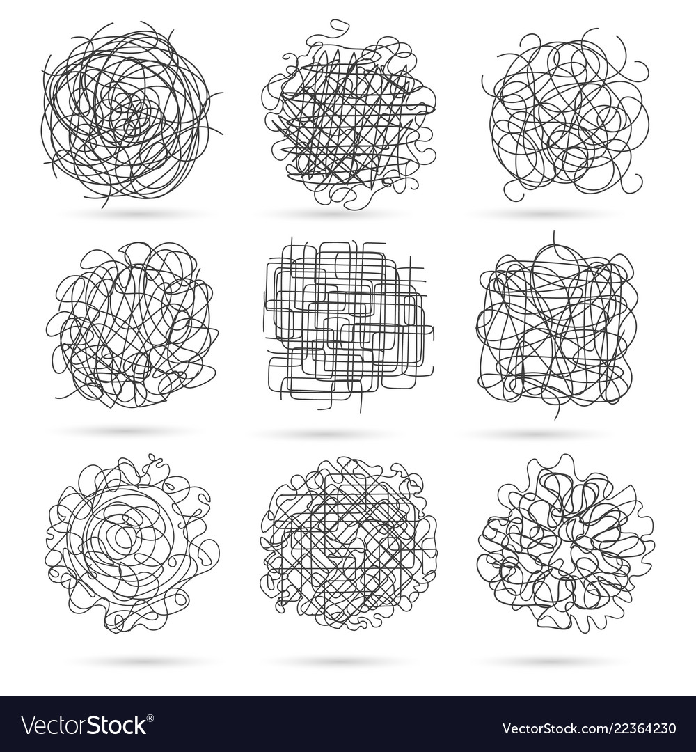 Tangle line scribbles set