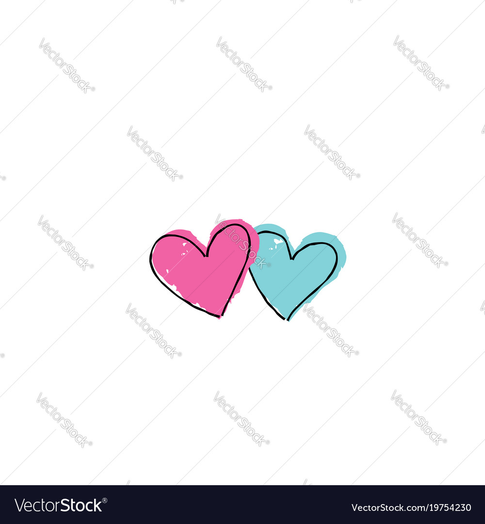 Two hearts with arrow love sign valentines day vector image