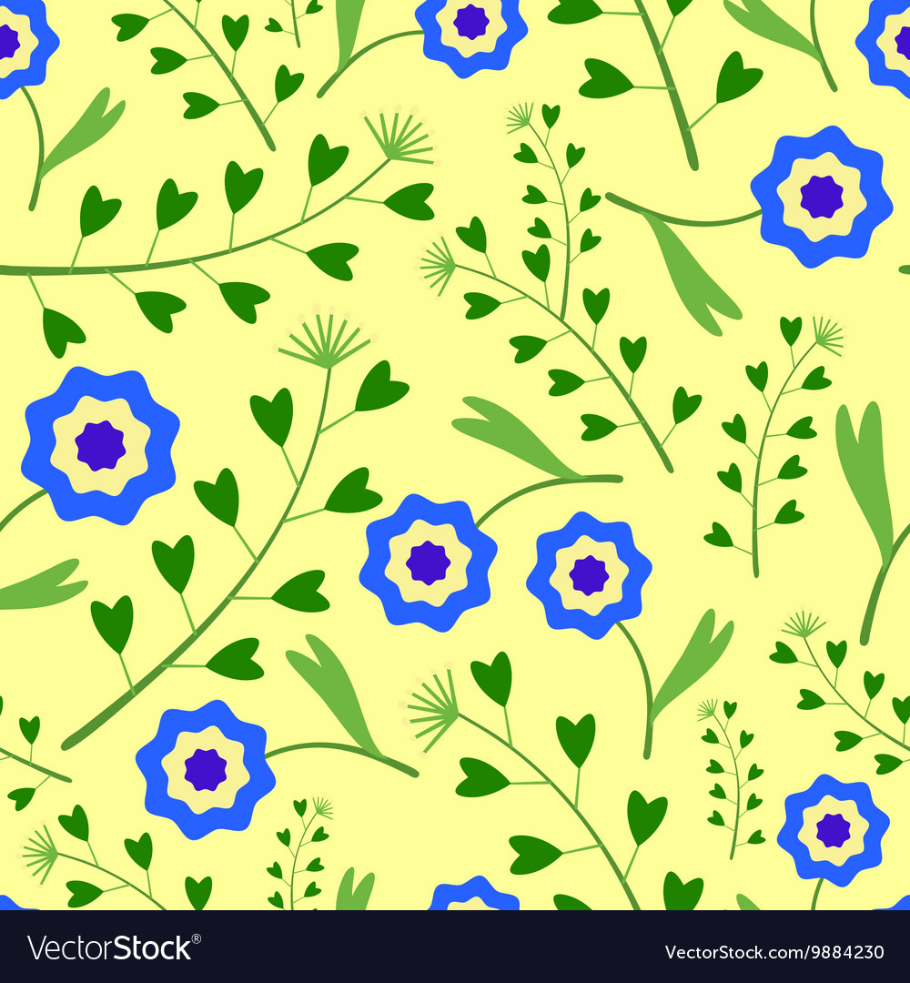 Yellow Pattern with blue Flowers and Grass